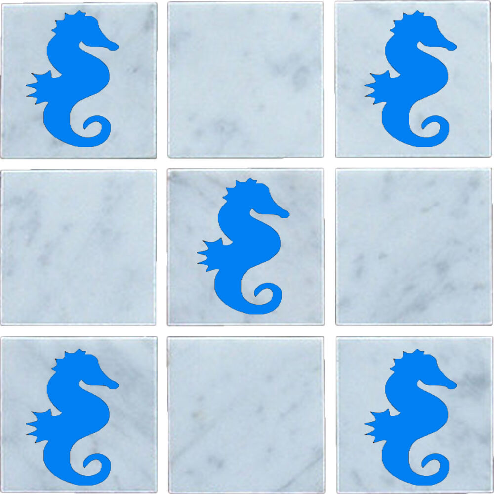 seahorse vinyl wall tile stickers decal transfers for. Black Bedroom Furniture Sets. Home Design Ideas