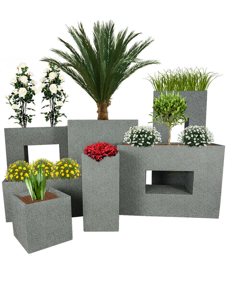 pflanzwerk pflanzk bel designer fiberglas blumenk bel granit grau blumentopf ebay. Black Bedroom Furniture Sets. Home Design Ideas