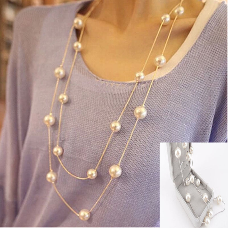 Fashion Women Multilayer Long Pearl Necklace Pendant ...