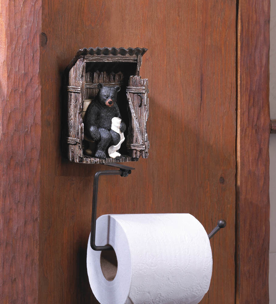 Unique rustic toilet paper holder black bear outhouse novel ebay Funny toilet paper holders