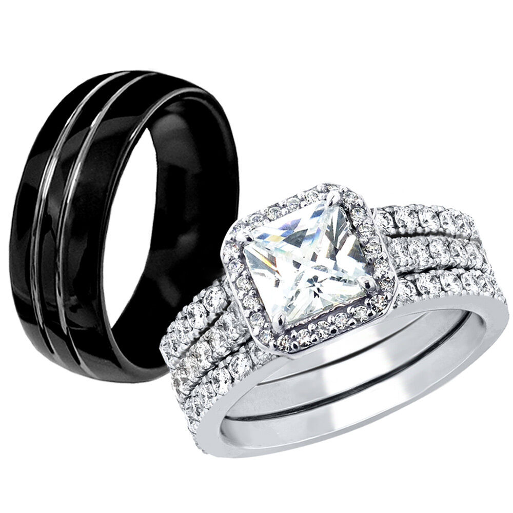 hers 925 sterling silver cz his black tungsten engagement. Black Bedroom Furniture Sets. Home Design Ideas