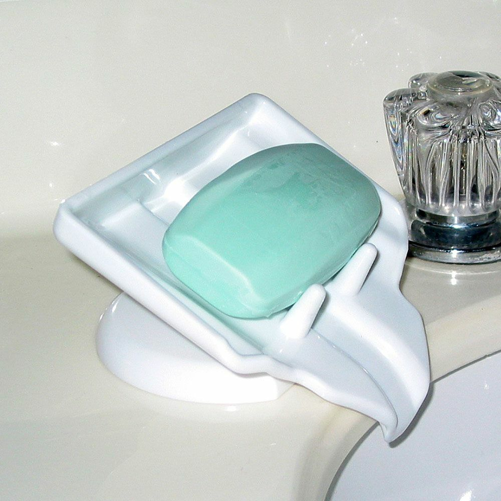 Bathroom Kitchen Waterfall Soap Saver Sink Caddy Sponge