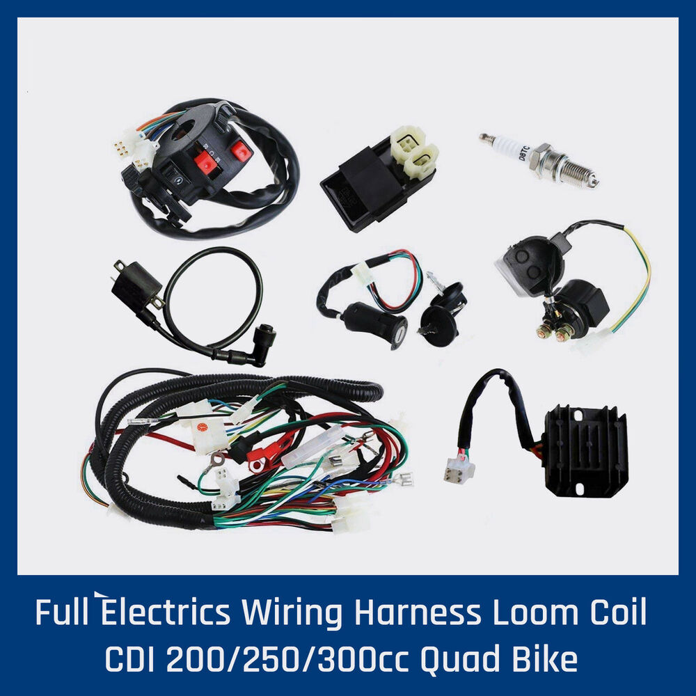 Full Electrics Wiring Harness Loom Coil Cdi 200 250 300cc Quad Bike Chinese Atv Details About Buggy Gokart