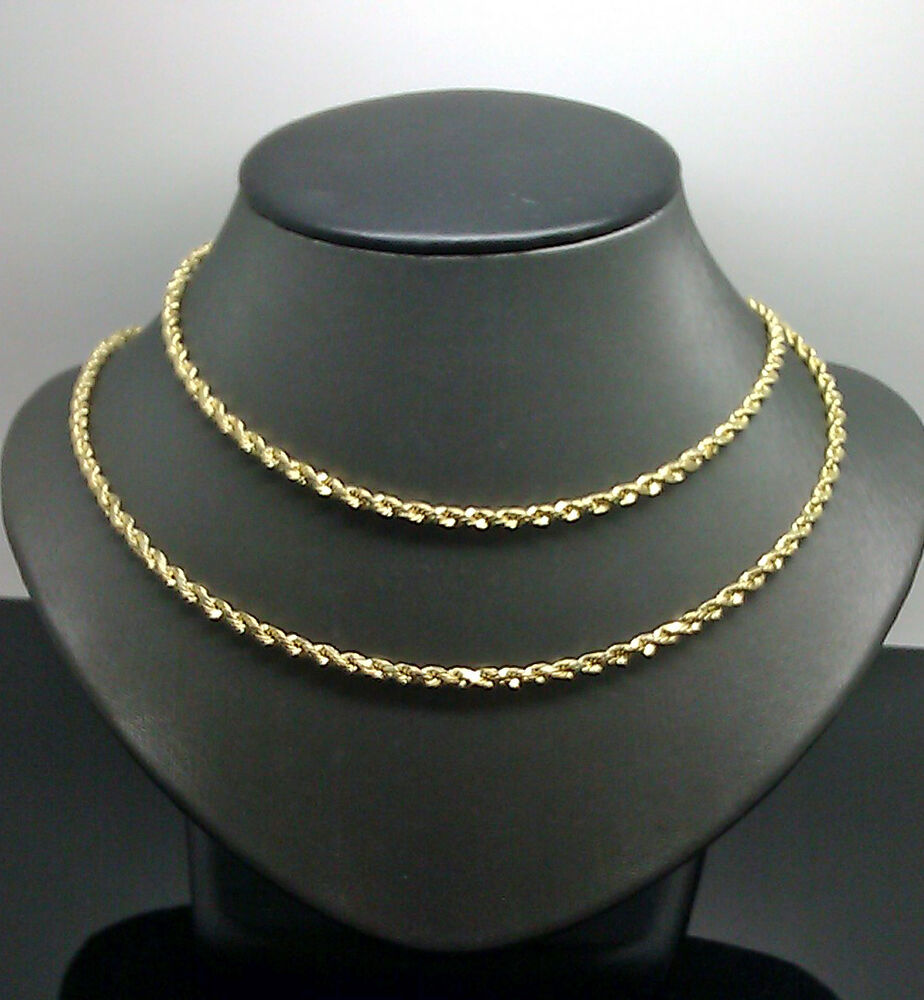 10k Yellow Gold Mens Rope Chain With Diamond Cut 3mm 18