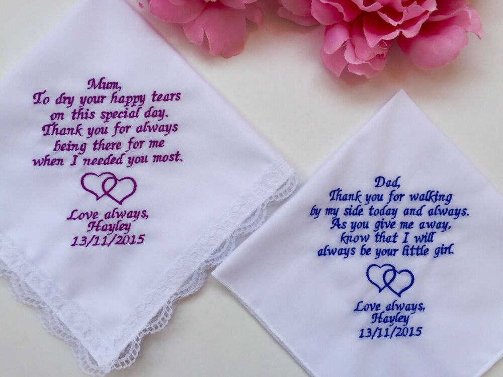 Wedding Gift Handkerchiefs For Mother Of The Bride And Father Of The ...