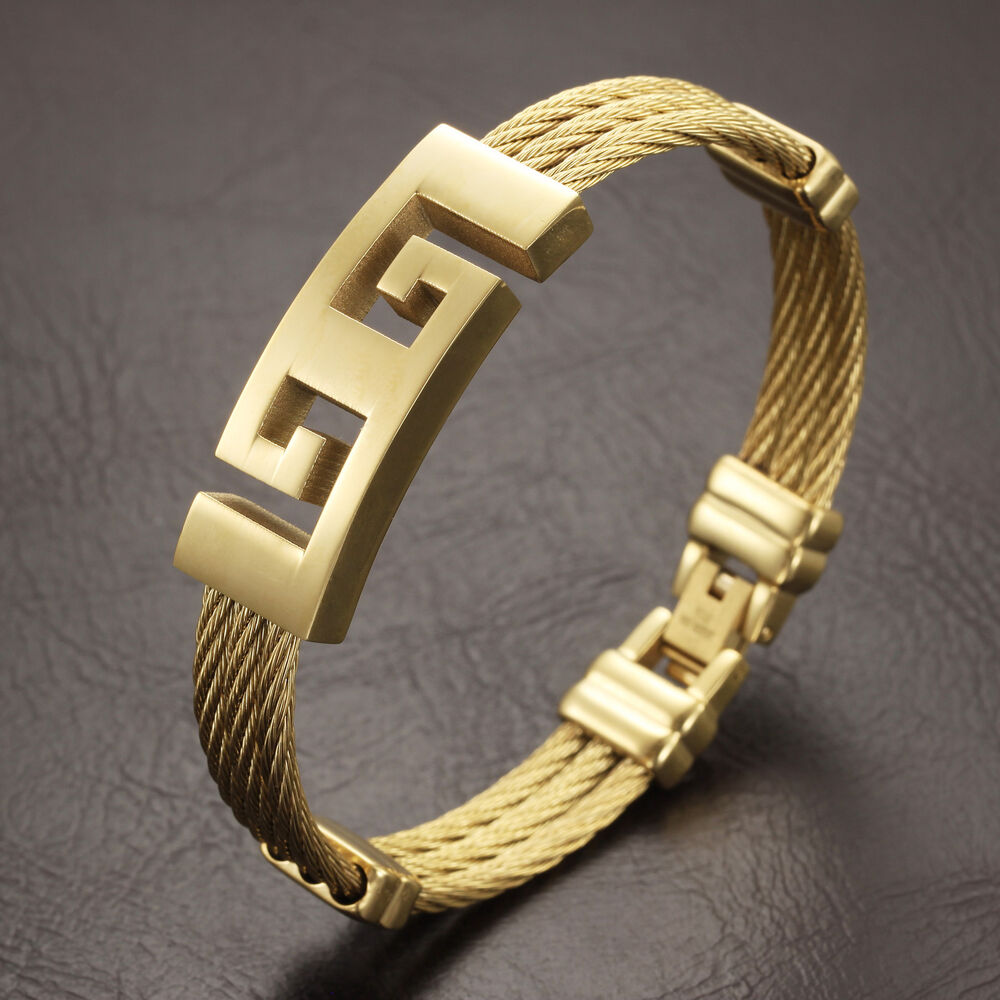 Gold Jewelry Bracelets: Mens Jewelry Gold Stainless Steel Twisted Cable Greek Key