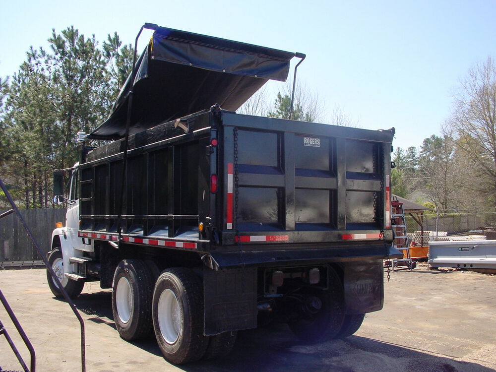 Asphalt dump truck tarp with side flaps for a 16 39 bed ebay for Tarp motors for dump trucks