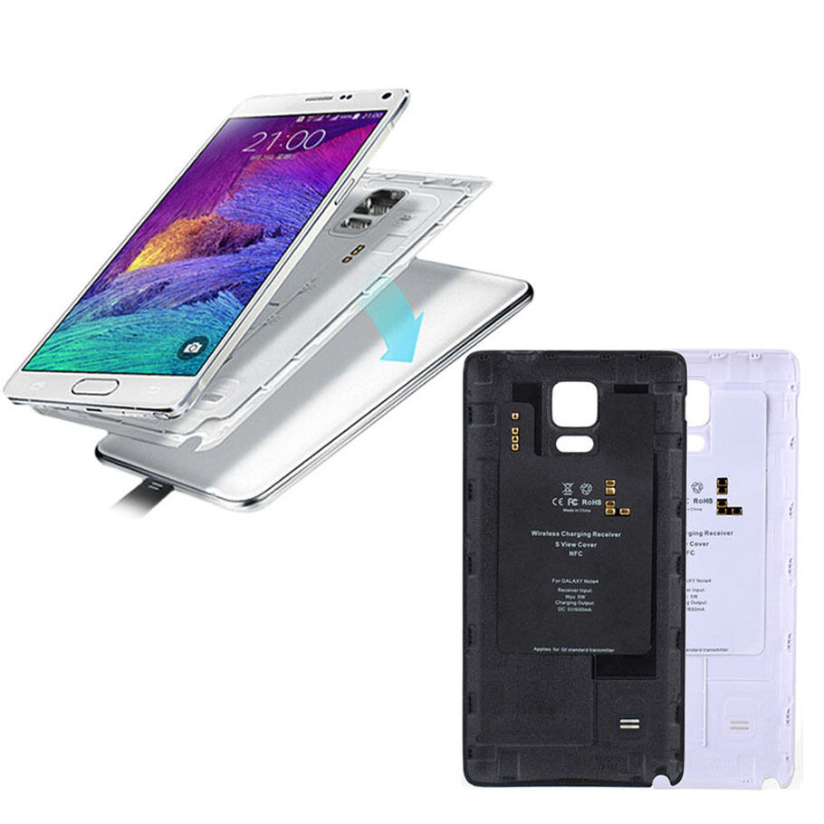 wireless qi charging receiver charger cover case skin for samsung galaxy note 4 ebay. Black Bedroom Furniture Sets. Home Design Ideas