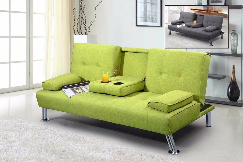 Modern Cool 2 3 Seater Small Single Sofa Bed Lime Green
