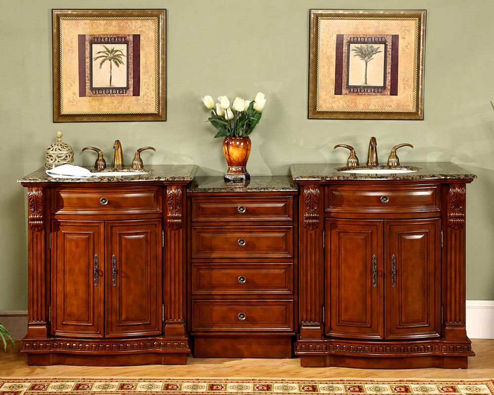 84 5 cherry finish cabinet bathroom stone top double sink lavatory