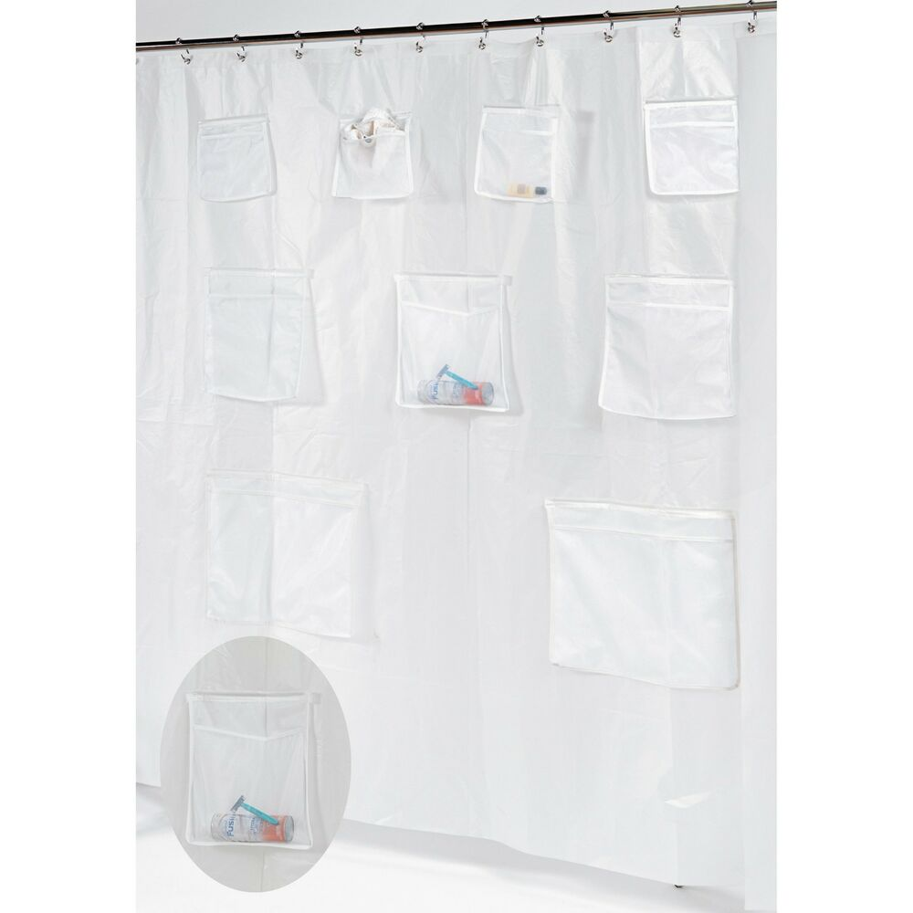 Pockets PEVA Shower Curtain Liner with 9 Mesh Storage Pockets Frosty ...