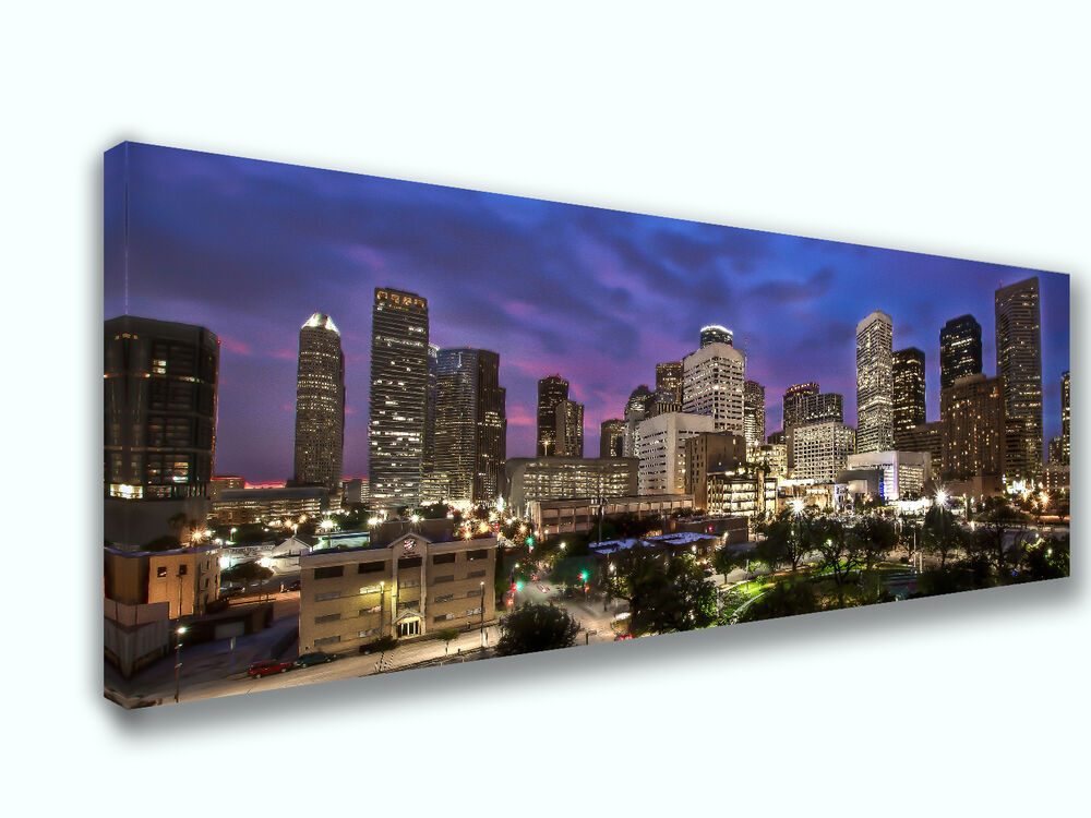 houston texas city skyline canvas print art home decor wall art ebay. Black Bedroom Furniture Sets. Home Design Ideas