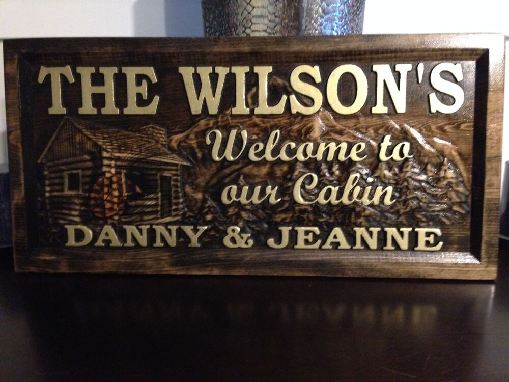 11 x 23 personalized carved wood sign cabin sign for Cabin signs wood