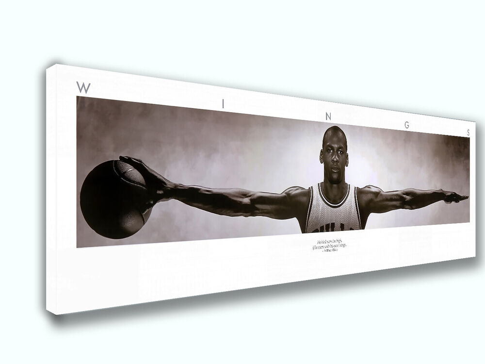 Wall Decorations Michaels : Michael jordan wings panoramic picture canvas print home