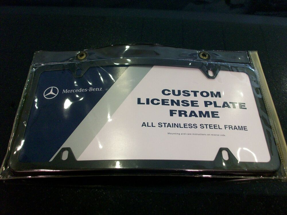 Oem genuine mercedes benz black curved license plate frame for Mercedes benz license plate logo