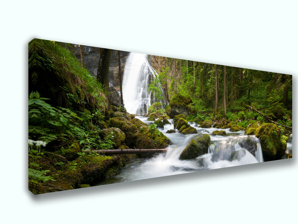 Art Décor: Beautiful Waterfall Nature Panoramic Picture Canvas Print