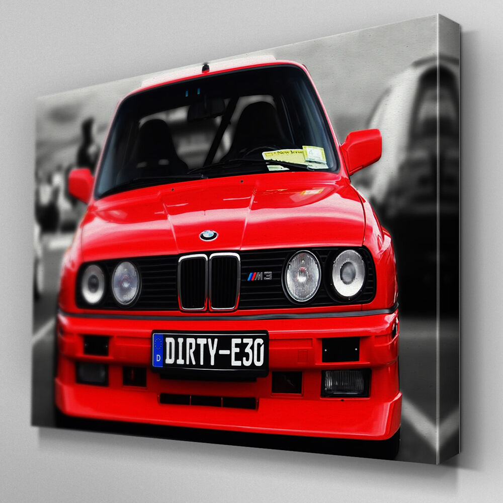 Bmw M3 Motor E30: Cars035 Red BMW Dirty E30 M3 Canvas Art Ready To Hang