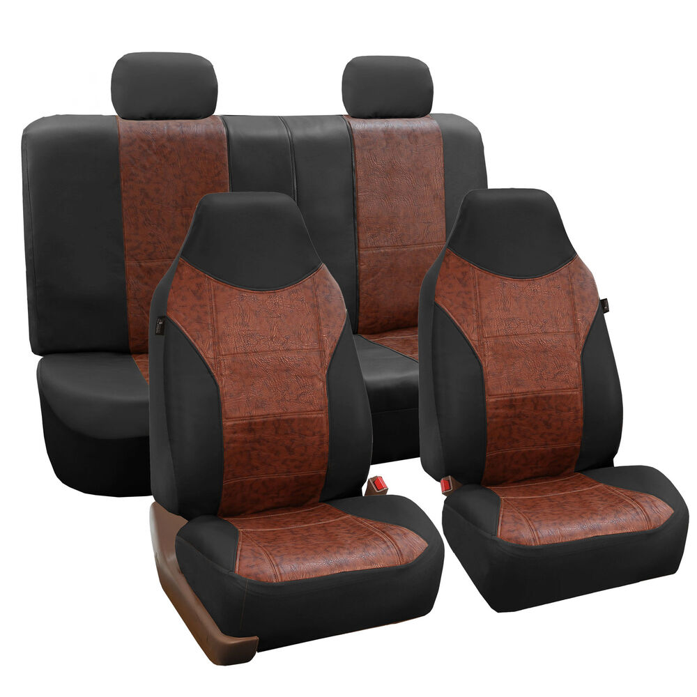 luxury pu leather car seat cover sporty look black brown for car suv ebay. Black Bedroom Furniture Sets. Home Design Ideas