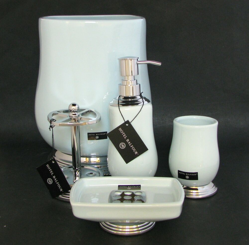 New Hotel Balfour 5pc Set Aqua Blue Soap Dispenser Dish