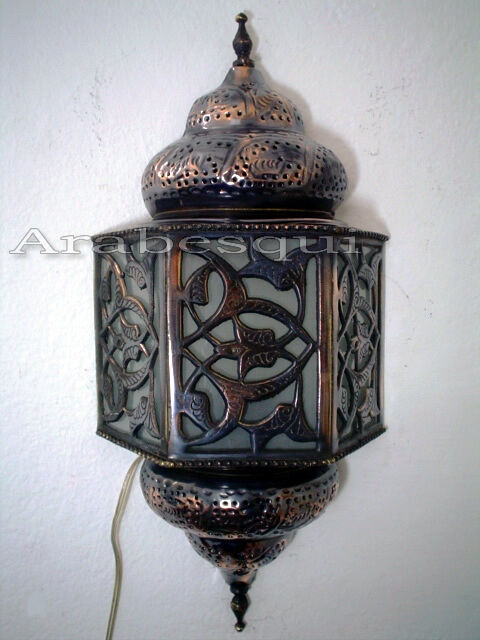 BR176 Floral Moroccan Brass Wall Decor Sconce FROSTED GLASS eBay