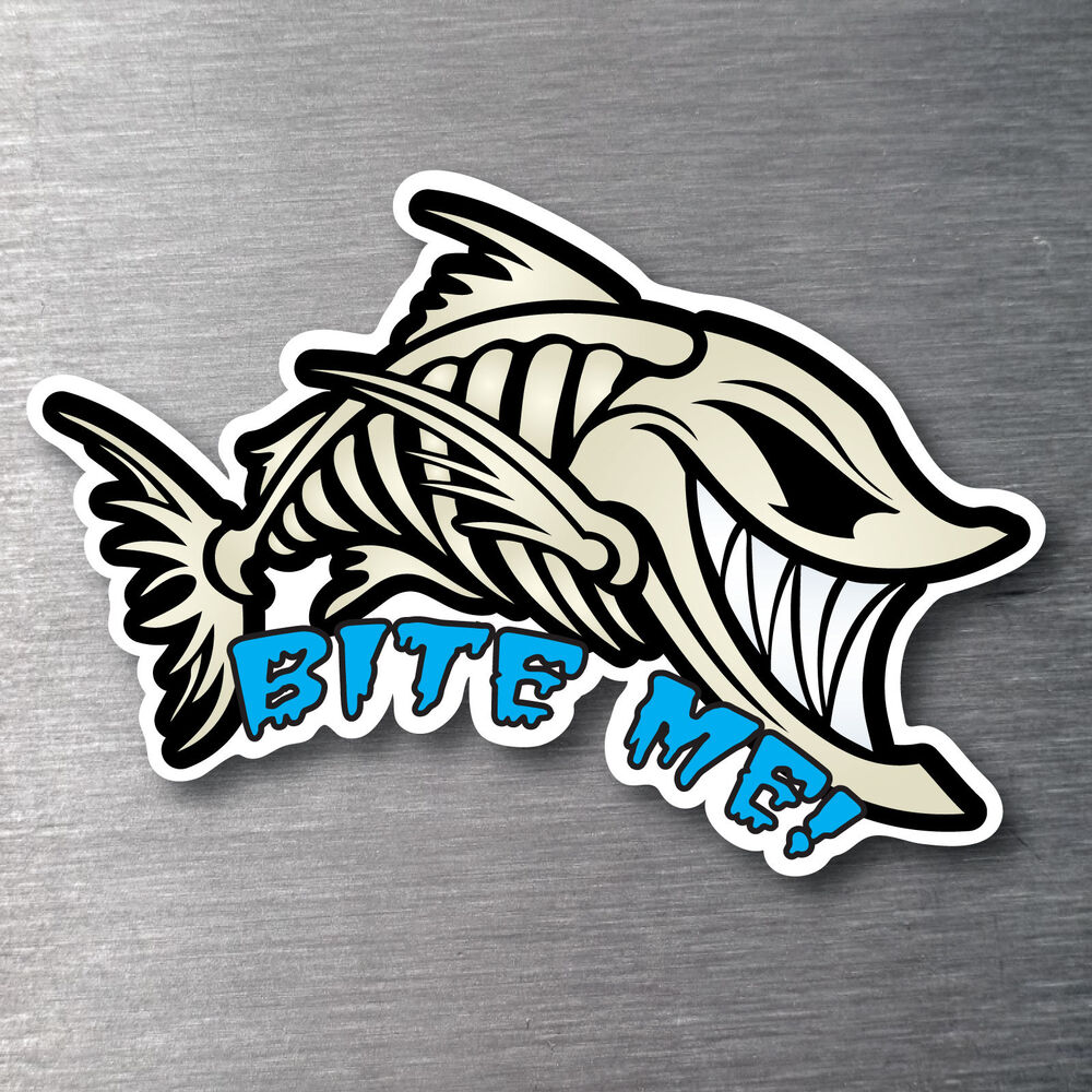Bite Me Angry Fish Sticker Quality Water Fade Proof 7