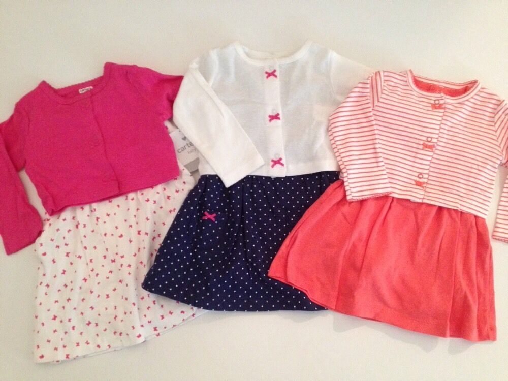 Carters Baby Girl Cardigan Dress Set Size 6 9 Months Coral