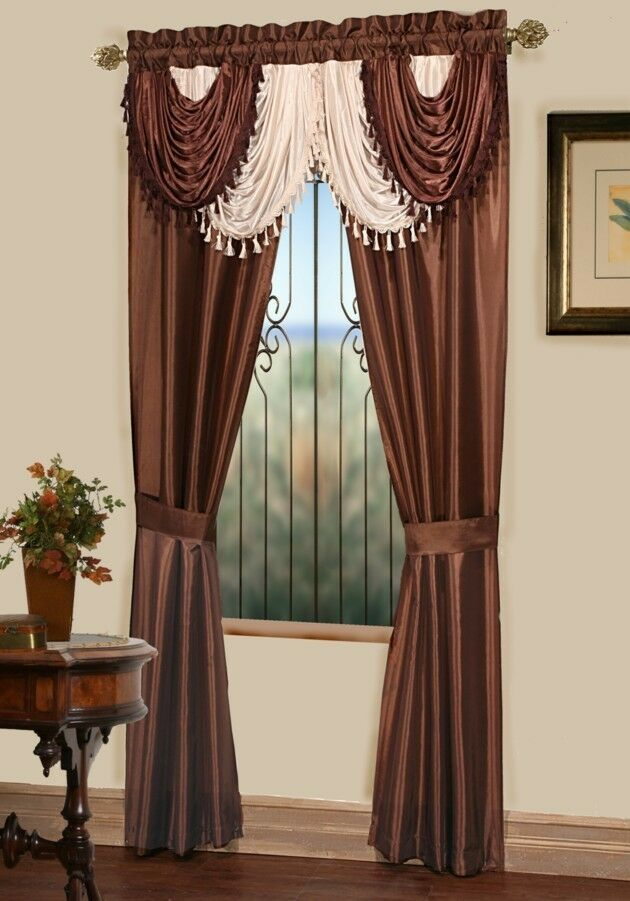 amore panel w attached valance 5 curtain set brown ebay