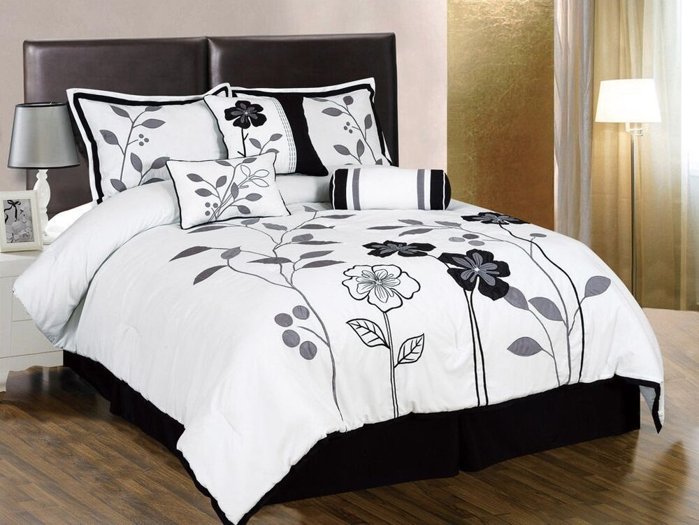 7pcs white gray black embroidered applique floral comforter set queen ebay. Black Bedroom Furniture Sets. Home Design Ideas