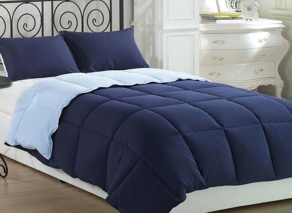 Pale Blue Comforter: 3pcs Super Soft Reversible Down Alternative Comforter Set