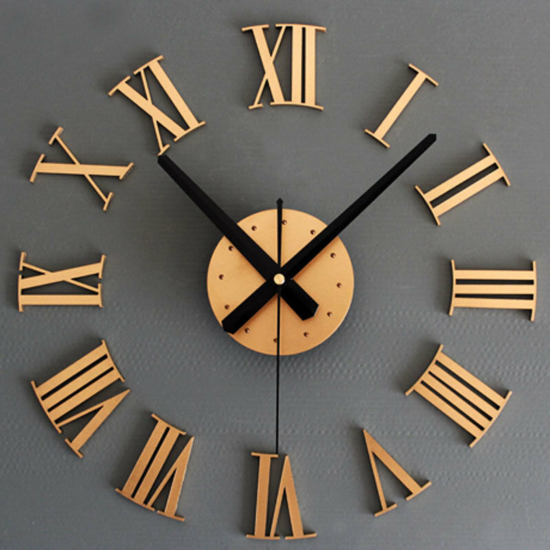 Roman numerals 3d wall clock large size mirrors surface luxury art clock ebay - Large roman numeral wall clocks ...