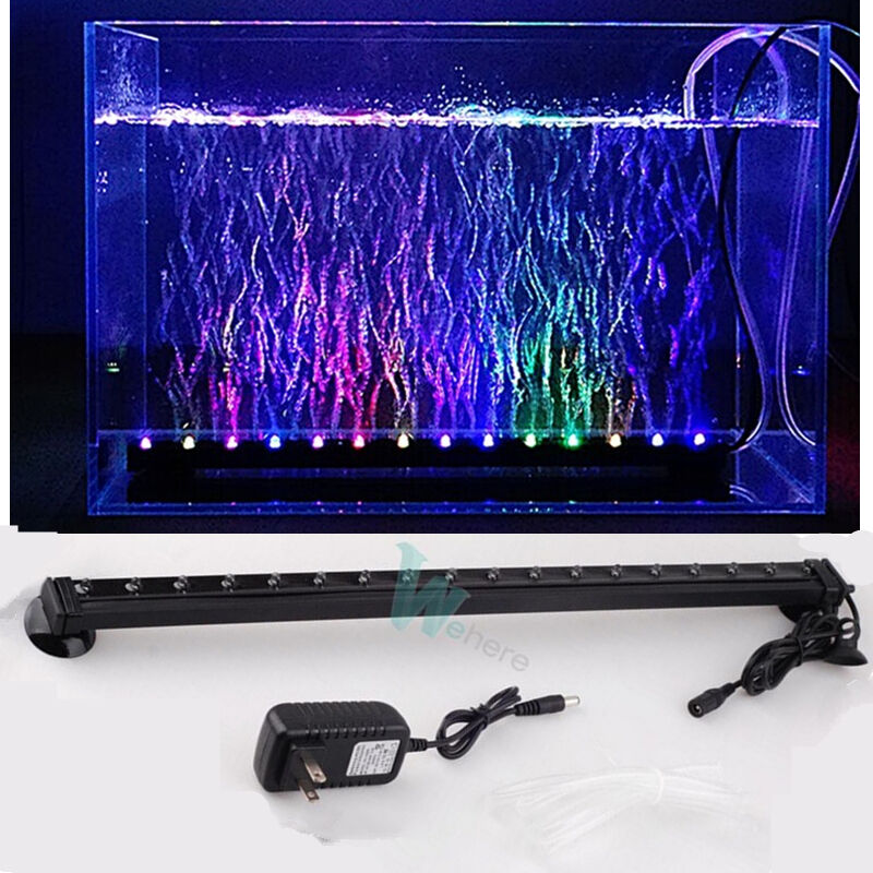 18led underwater submersible air bubble rgb led light fish for Fish tank led light bar