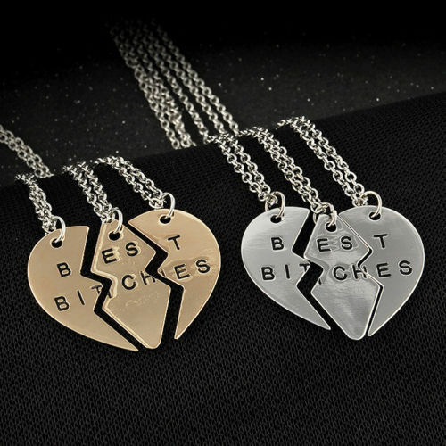Friendship Quotes Jewelry: Best Bitches Friends Broken Heart 3 Peice Necklace Set