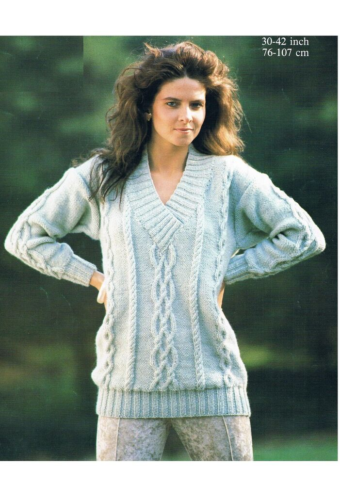 Knitting Pattern Ladies V Neck Jumper : Ladies Aran Cable V-neck Sweater Jumper Knitting Pattern PATTERN ONLY 30-42 i...