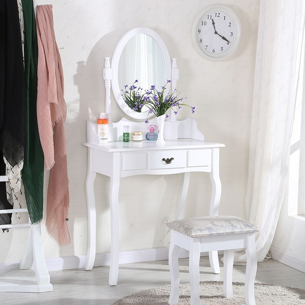 White Dressing Table Makeup Desk With Stool And Round