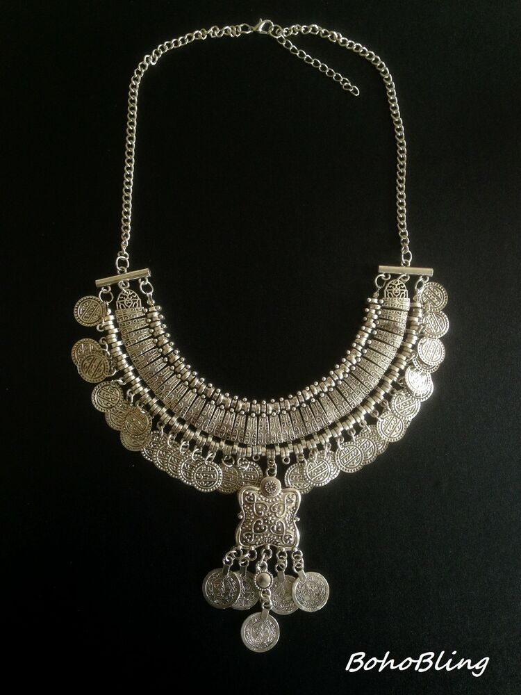 Vintage Necklace Moroccan Coin Silver Hippie Boho Tribal ...