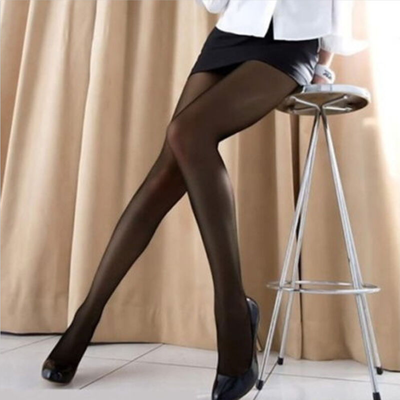 Black Sheer Stockings With Silver Shoes