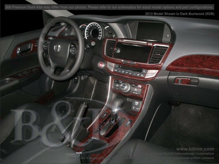 honda accord wood grain dash kit fits 2013 2015 4 door sedan ebay. Black Bedroom Furniture Sets. Home Design Ideas