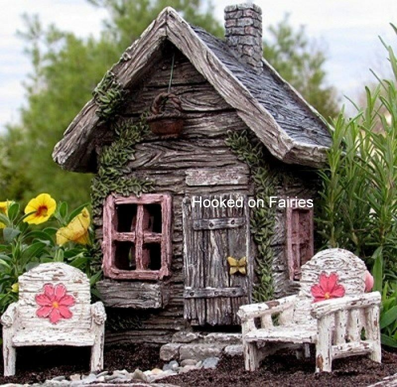 Fairy shed w hinged door miniature fairy garden gnome for Amazon uk fairy doors