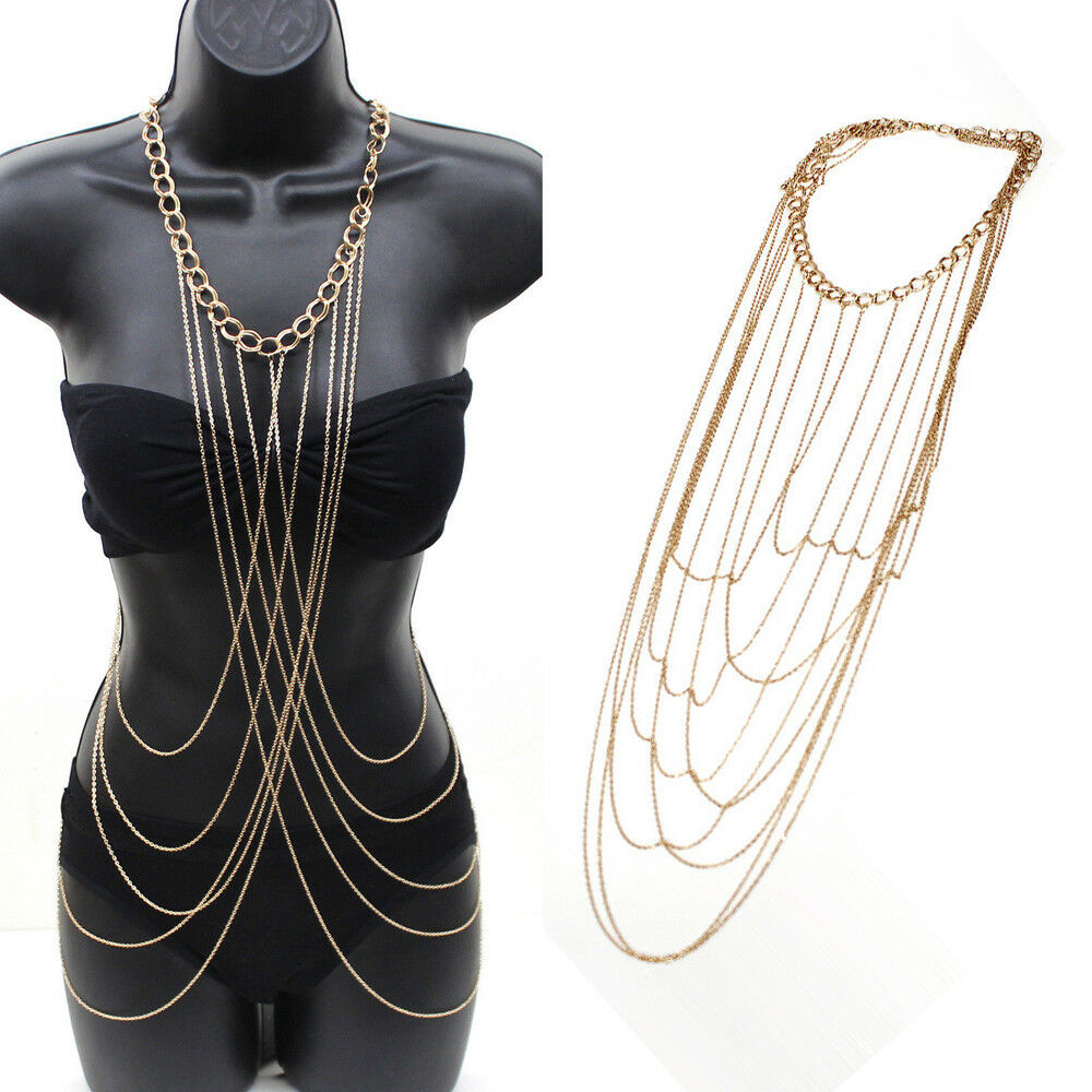Us sexy women body full metal chain gold jewelry necklace for Body jewelry cheap prices