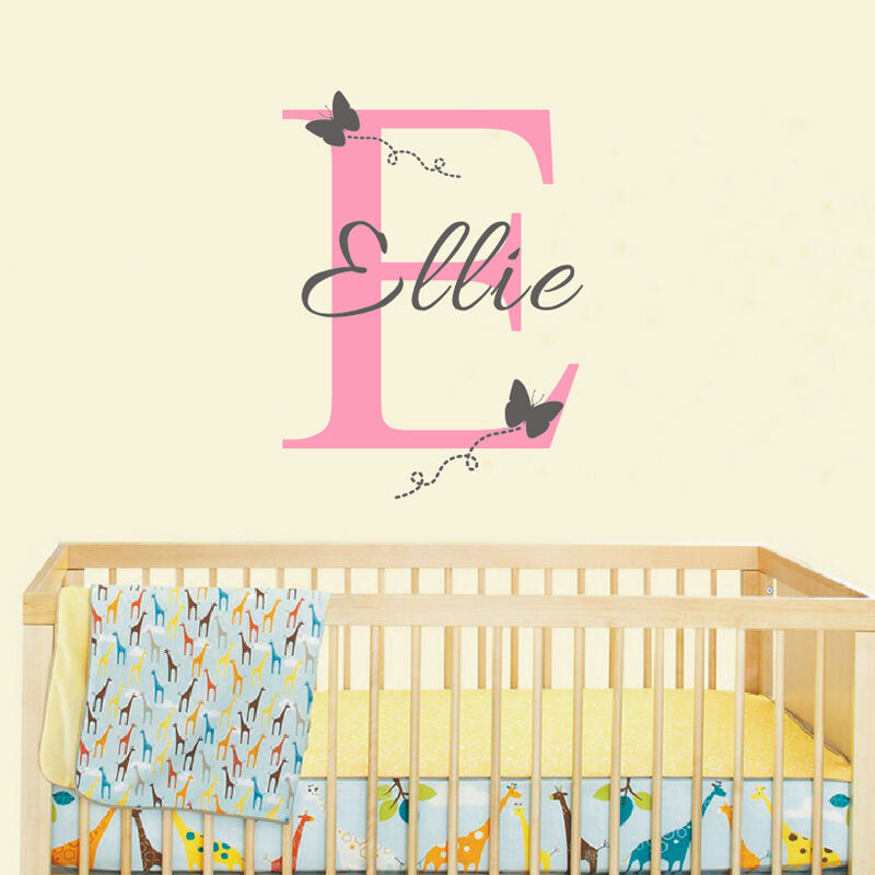 Wall sticker baby girl room decor customized name for Baby room decoration wall stickers