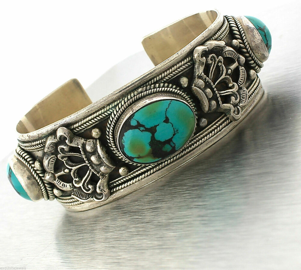 Cuff Bangle Bracelet: Lovely Ladies Indian 925 Sterling Silver Turquoise