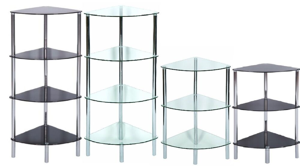 Standing Corner Shelving Unit Display Stand Clear Glass