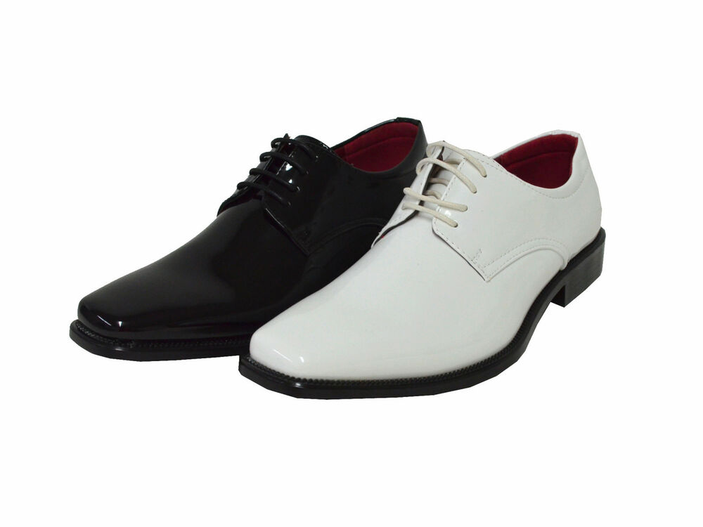 Men's Glossy Oxford Shoe Formal Tuxedo Patent Leather ...