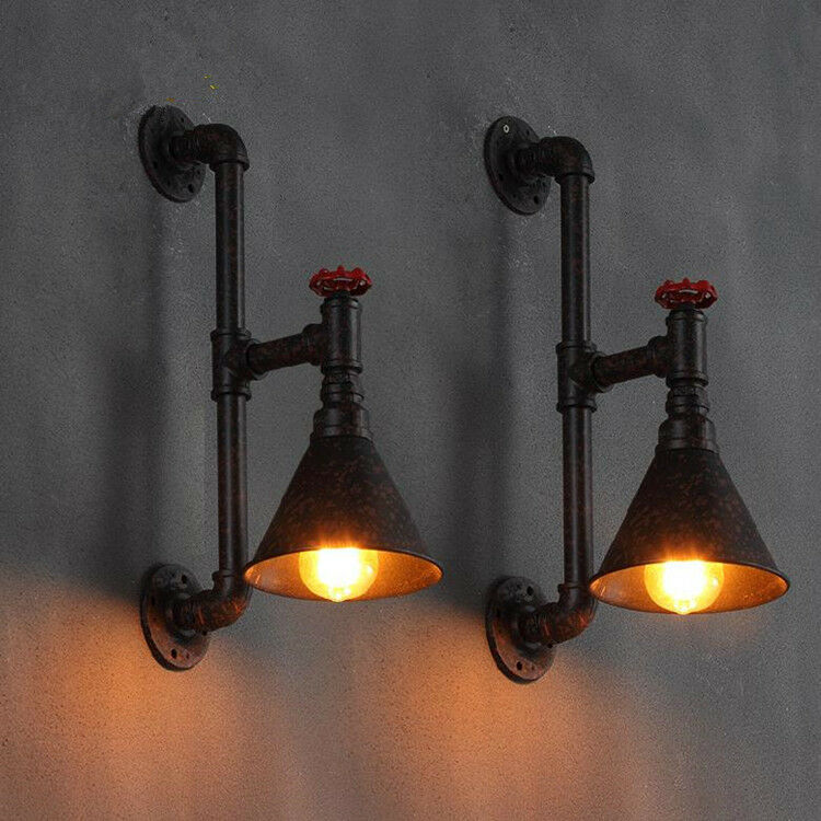 industrial wall pipe lamp retro light steampunk vintage wall sconce light black ebay. Black Bedroom Furniture Sets. Home Design Ideas