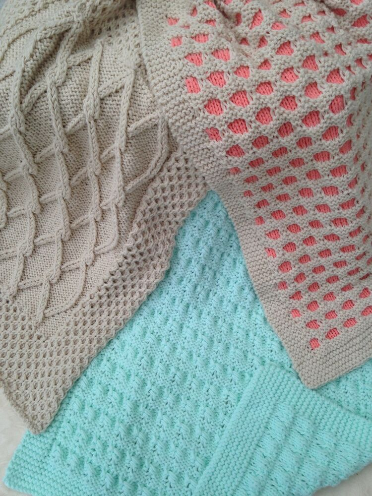 Knitting Edges For Baby Blankets : Baby knitting pattern aran pram covers blanket three for