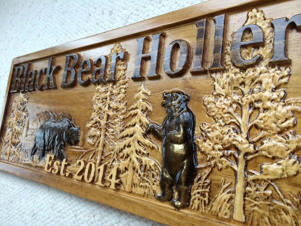 Personalized wooden sign lake house cabin decor camper custom carved black bear ebay - Custom signs for home decor concept ...