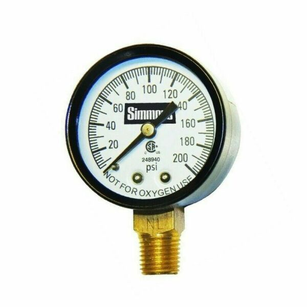 Simmons 1306 Well Pressure Gauge Air Steam or Water 200 psi 1/4