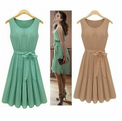 Women Ladies Chiffon Sleeveless Short Formal Casual Beach