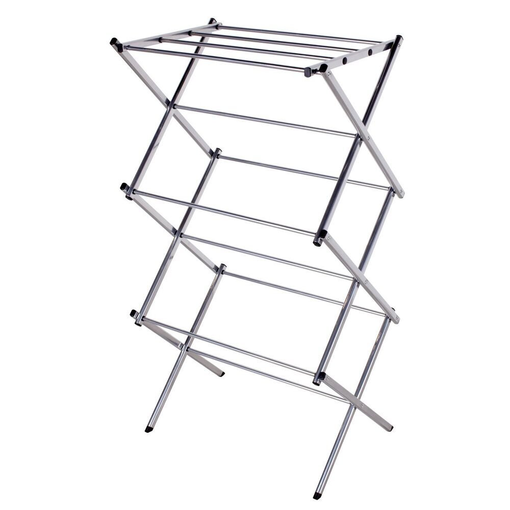 3 tier folding water resistant steel clothes drying rack ebay. Black Bedroom Furniture Sets. Home Design Ideas