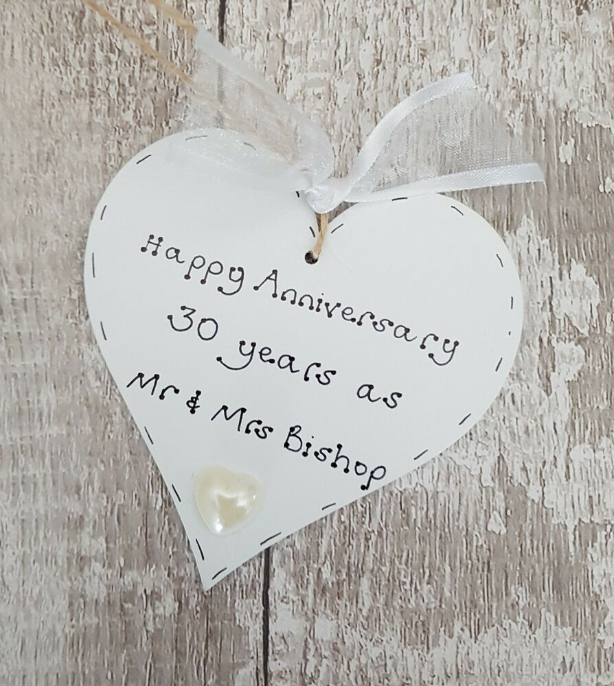 Pearl Wedding Anniversary Gift Ideas Uk : ... pearl/30th wedding anniversary wooden heart gift/present eBay
